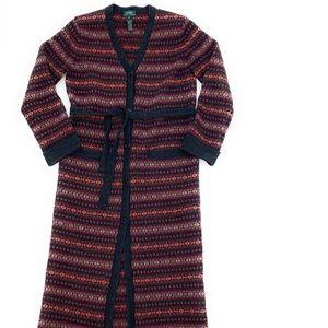 Wool Cardigan Southwest Indian Blanket Sweater Med